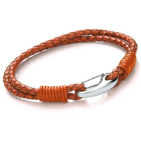 Tribal Steel 2 strand ORANGE Leather Bracelet.Beautifully crafted bracelet, made with top quality Bolo leather & 316L stainless steel  3mm Two  Strand Orange coloured Bolo Leather, with shrimp Clasp   Size: 21cm