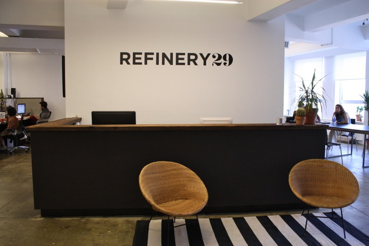 Cool reception area at refinery29 office design tips for Cool office reception