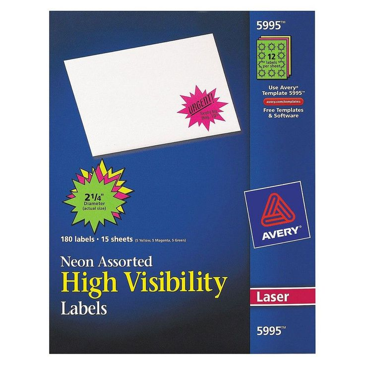 Avery 2-1/4in dia Burst Laser Labels- Assorted Neon Colors (180 per Pack),