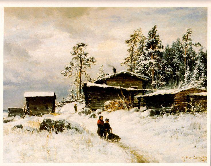Kuva albumissa HJALMAR MUNSTERHJELM - Google Kuvat.  Talvimaisema, 1875.  Jaakko Viljakainen, Helsinki, iso kuva (A4).
