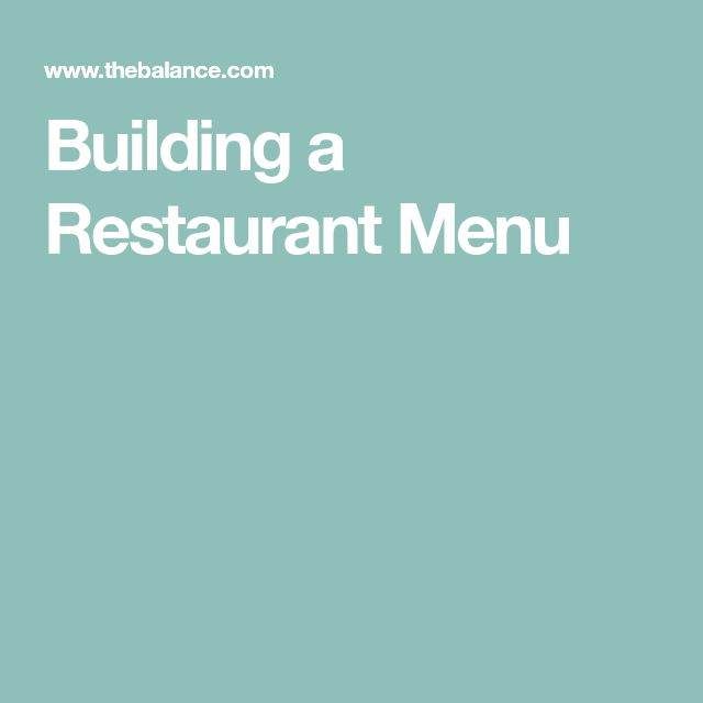 Building a Restaurant Menu