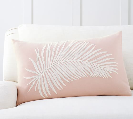 Fern Embroidered Lumbar Pillow Cover $45