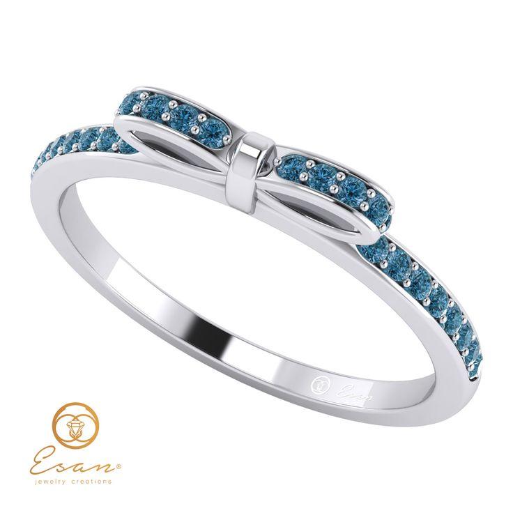 Inel de logodna cu diamante albastre model fundita ESDB88