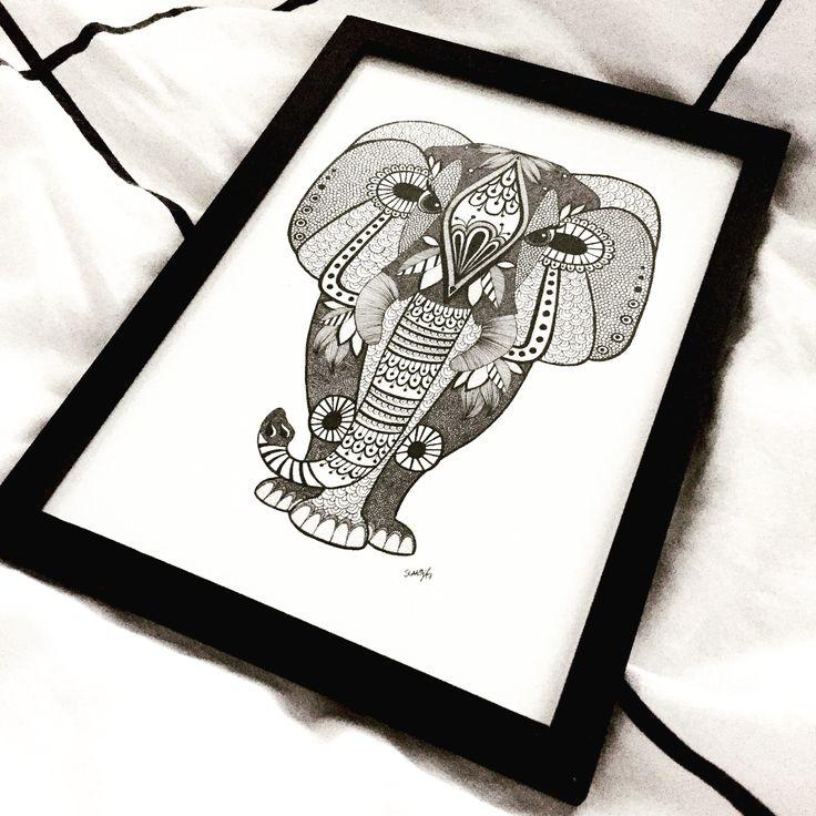 Elephant, elefant, zentangle, mandelaart, art, illustration, drawing, sketch, zendoodle, ink, tattoo, elephanttattoo, kidsroom, børneværelse, kids, kidsinterior, interiør, boligindretning