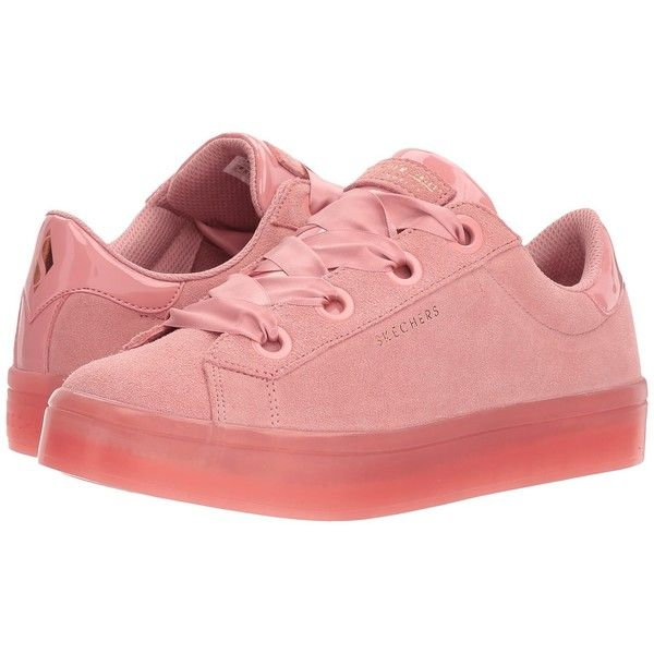 SKECHERS Hi-Lite - Suede City (Pink) Women's Lace up casual Shoes (2,045 THB) ❤ liked on Polyvore featuring shoes, grommet shoes, eyelets shoes, skechers footwear, laced shoes and traction shoes