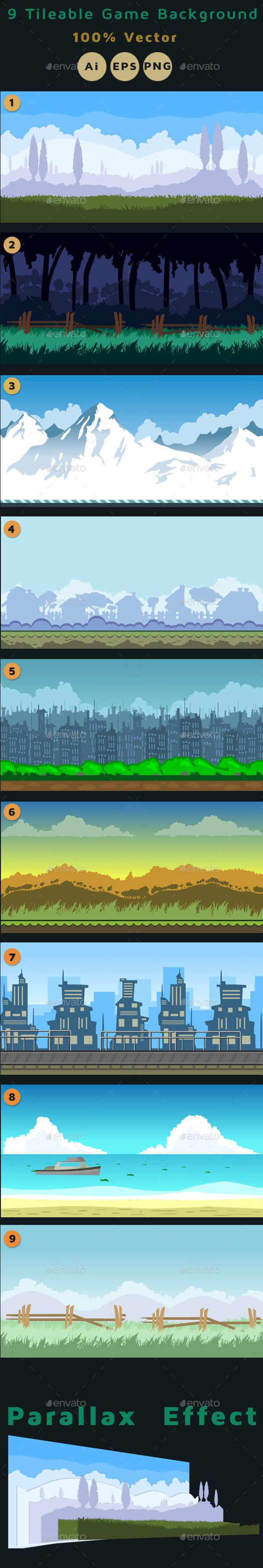 9 Tileable Vector Game Background - Backgrounds Game Assets