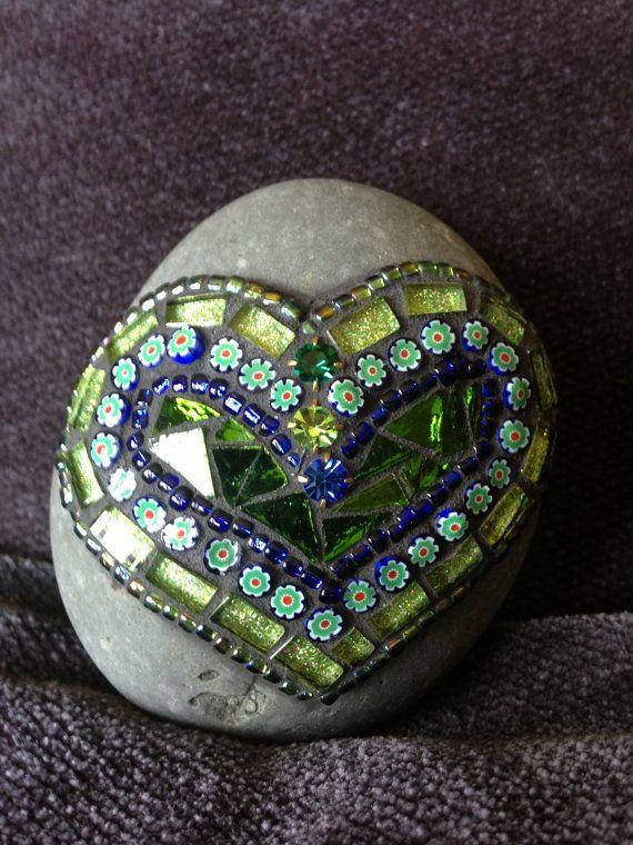 Mosaic Art Rock of Love by Moonjewelsandmosaics on Etsy, $30.00