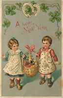 New Year~Victorian Toddlers in Smocks Carry Wine Red White Mushroom Basket~BW302