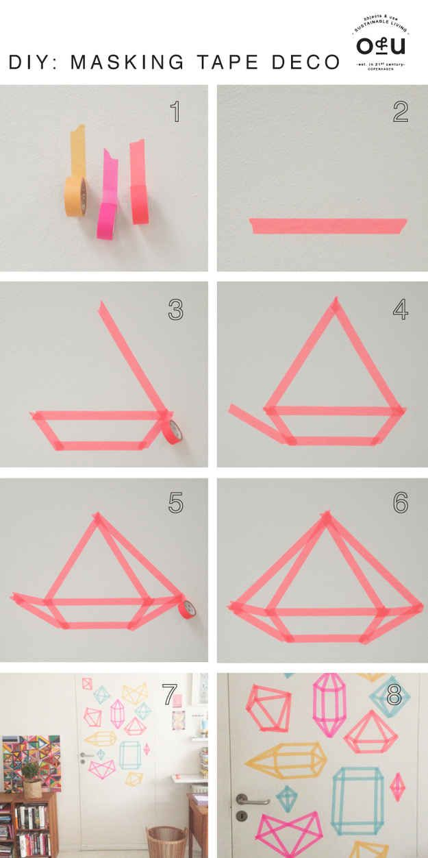 Use washi tape to add a diamond pattern to your door.