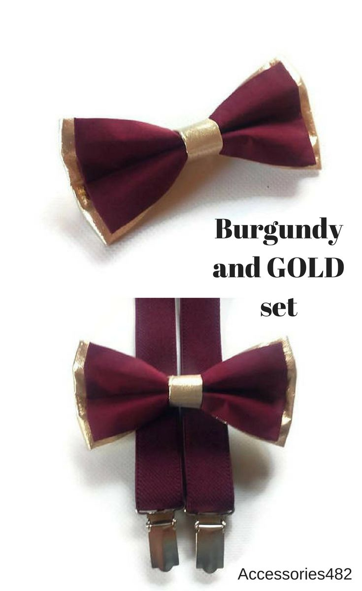 $19.95 Set of bow tie and suspenders Burgundy and gold wedding outfit for ring bearer Groomsmen burgundy suspenders and gold burgundy bow ties Groom burgundy wedding outfit Ring bearers burgundy gold set of bow tie and suspenders #burgundygoldwedding #burgundywedding #ringbearer