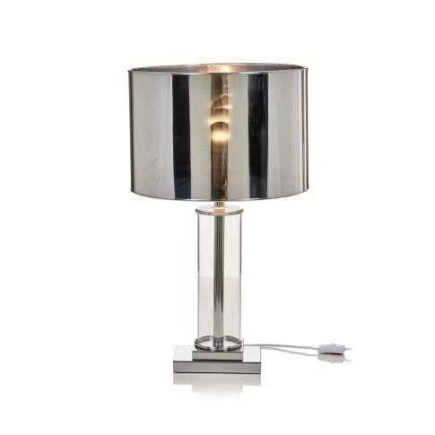 Bringt Ein Bisschen Studio 54 Atmosphare Ins Wohnzimmer Tischleuchte Mit Glaszylinder Als Fuss Und Verchromtem Schirm Modern