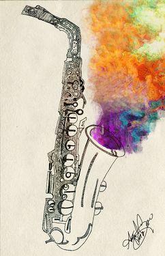 """Saatchi Art Artist April Gann; Drawing, """"Saxophone Healing"""" #art"""