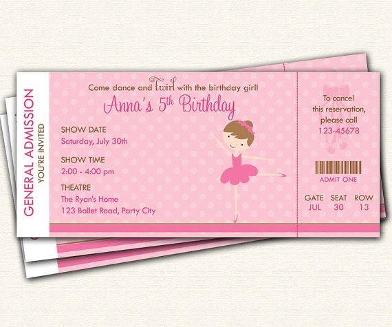 Ballet Ticket Invitation PRINTABLE - Ballerina Birthday Party Invitation for Girls (Brown Pink Polka Dot)