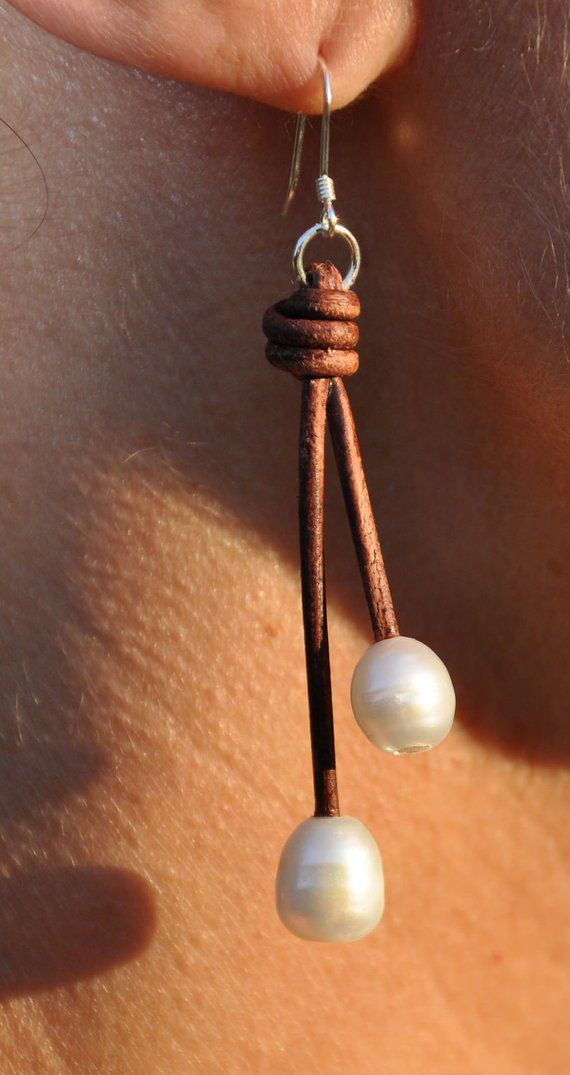 Pearl and Leather Earrings – 2 Pearl Droplet – Pearl and Leather Jewelry – Leather Jewelry – Hanging Dangling Pearl Earrings – Leather