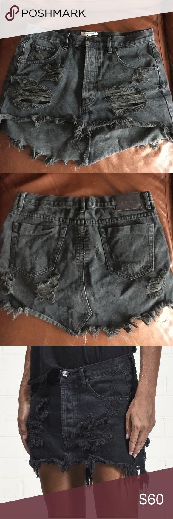 OneTeaspoon Distressed Jean Skirt OneTeaspoon Black Distressed Jean Skirt. Asking 60 or best offer Skirts Mini