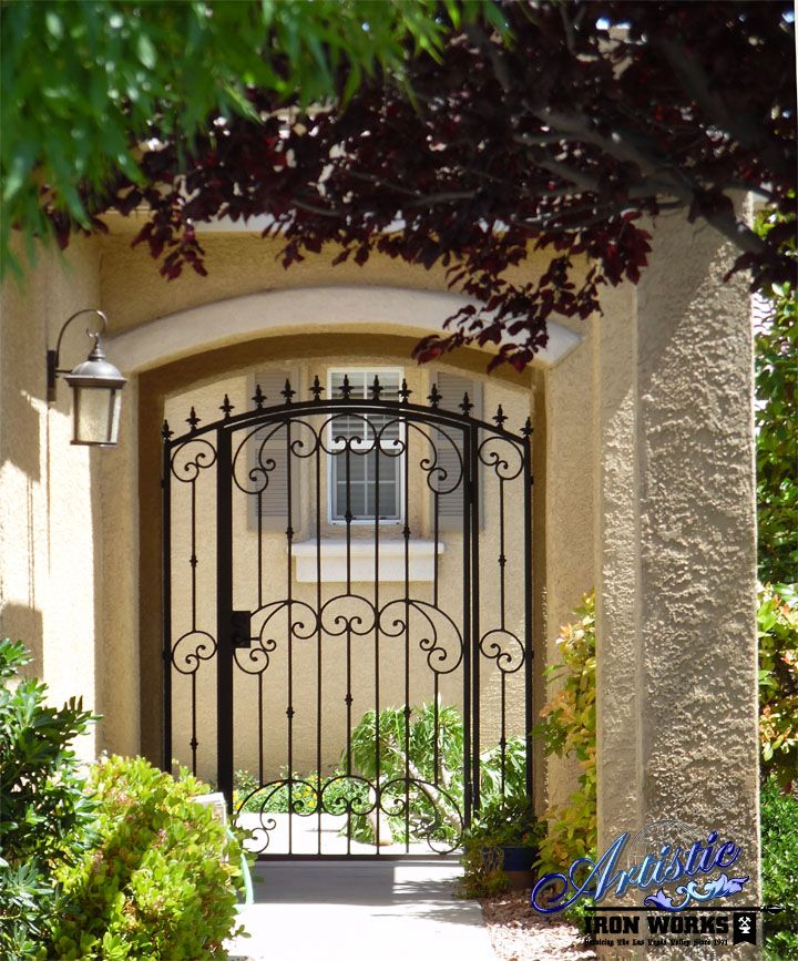 Home Design Gate Ideas: Arched Wrought Iron Courtyard Entry Gate With