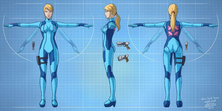 Zero Suit Samus model sheet by glitcher.deviantart.com on @DeviantArt