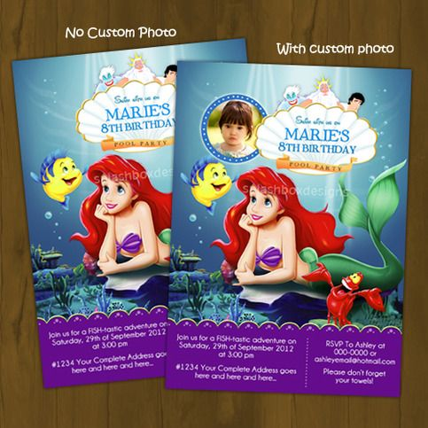 Best Invites Images On Pinterest Little Mermaids Birthday - Custom ariel birthday invitations