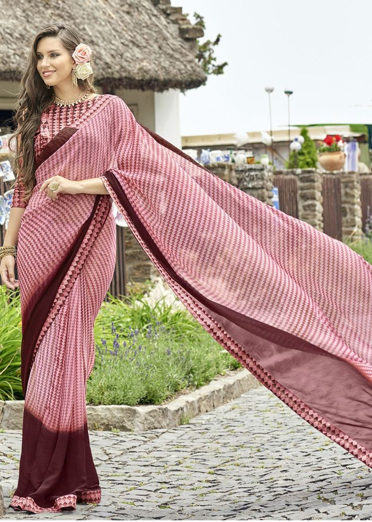 Pinka nd Brown Faux Georgette Traditional Printed Saree. Shop Now: https://goo.gl/LH5DuW