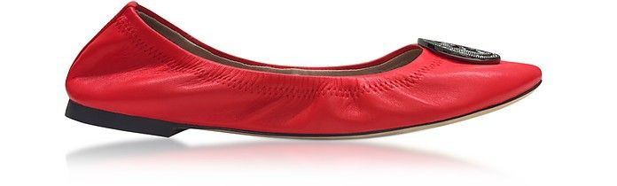 TORY BURCH | Liana Exotic Red Leather Ballet Flats #Shoes #TORY BURCH