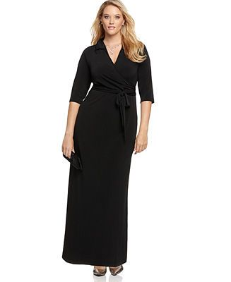 NY Collection Plus Size Dress, Faux Wrap Maxi - Plus Size Dresses - Plus Sizes - Macy's