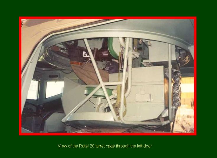 SADF.info Ratel Armoured Infantry Fighting Vehicle - View of the Ratel 20 turret cage through the left door.