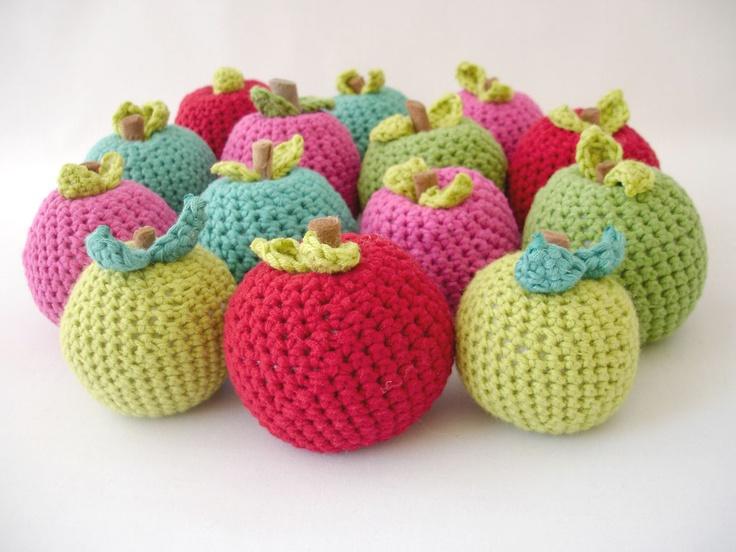 "Colorful crochet apples 7cm-3"" high @Anou Hatamian Hatamian Design"
