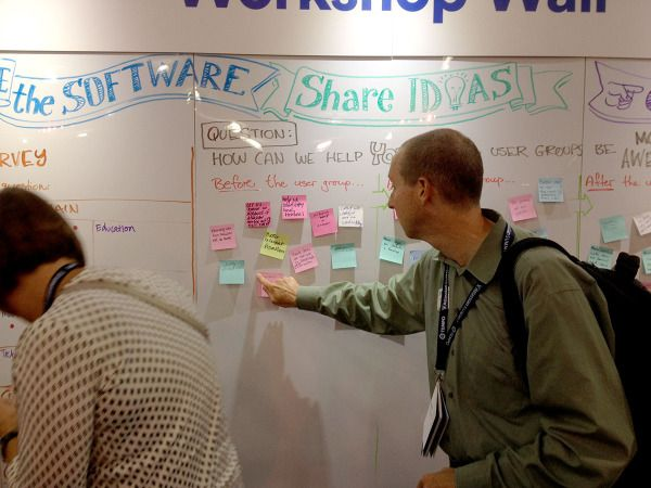Photo of two people adding their thoughts and ideas to a big whiteboard wall at Atlassian Summit14