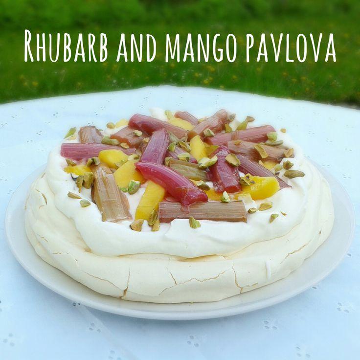 Rhubarb and mango pavlova