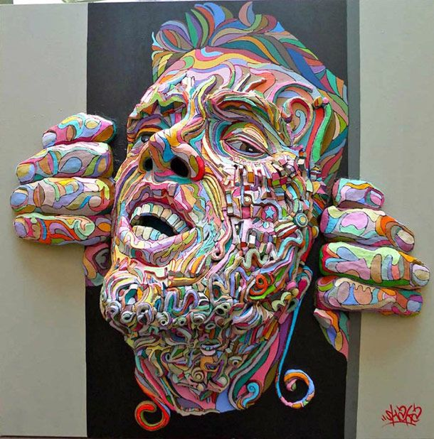 The paintings in relief of French street artist Shaka