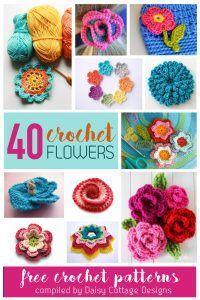 40 Free Flower Crochet Patterns Vertical - Daisy Cottage Designs