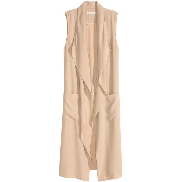 Long Vest $49.99 ($25) ❤ liked on Polyvore featuring outerwear, vests, draped vest, long waistcoat, lapel vest, long vest and beige vest