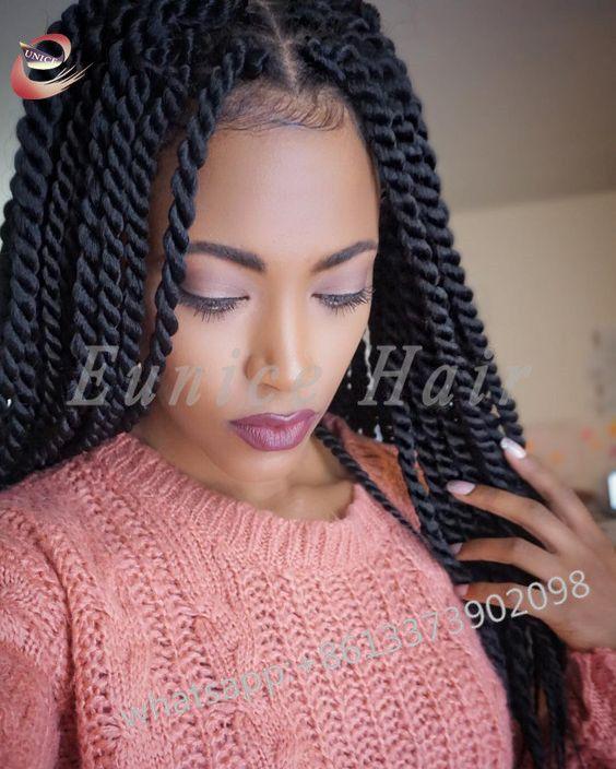 Cheap Fake Jumbo Twists Bulk Hair African Braiding Hair Extensions Sexy Havana Mambo Twist Burgundy Wavy Braids For Long Hair