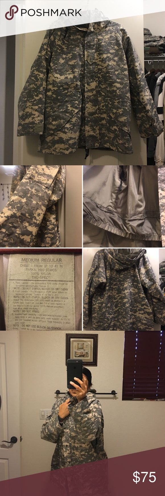 """Used Tru Spec Army Issue ACU jacket Used Unisex Med-Reg Army wet weather parka. Making room for my new OCP uniforms. No tears. Many pockets and has kept me warm and dry. Mixed of Velcro -and snap on pockets. The micro fleece liner is NOT included since it has a tear inside the sleeve. Not noticeable but will include upon request no charge but do NOT rate me based on the liner since I said I wasn't going to include it. Needs to be sewn. Can be for male or female. I'm 5-1"""" and 130 for…"""