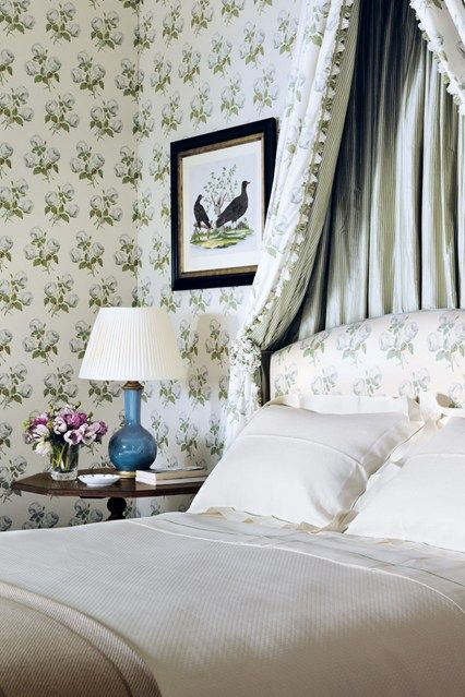 Patterned Textiles, Colefax & Fowler - creamy white linens, fresh spring green, pop of blue, bird prints  - Small Bedroom Design Ideas