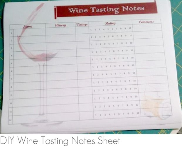 "Wine Tasting Party:  free #printable ""Wine Tasting Notes"" sheet"