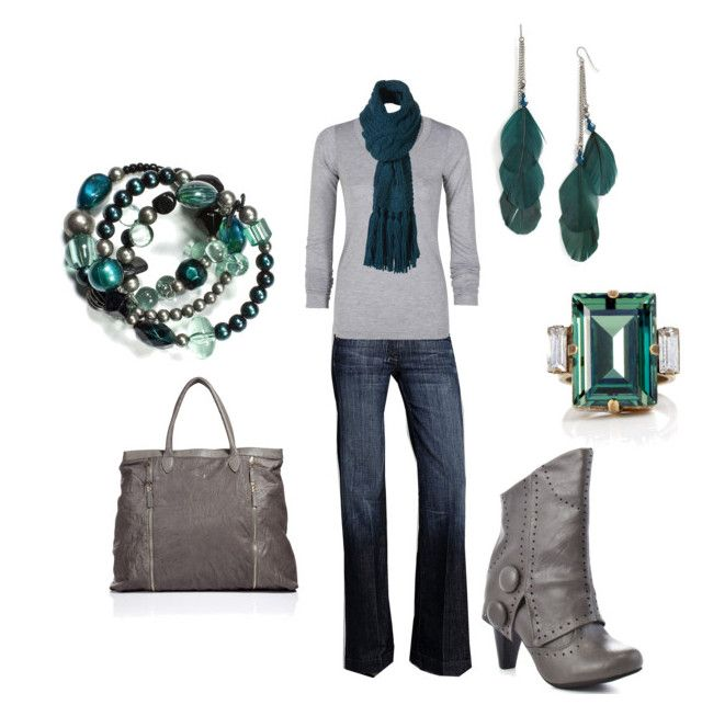 """Teal and Grey"" by karaleah82 ❤ liked on Polyvore featuring Stephan & Co., 7 For All Mankind, LnA, Not Rated, Halston Heritage, DANNIJO, scarves, grey, trouser jeans and fold over boots"