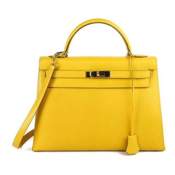 Pre-Owned Hermes Jaune D'or Epsom Leather Sellier Kelly 32 ($7,540) ❤ liked on Polyvore featuring bags, handbags, real leather handbags, yellow leather purse, mustard yellow purse, yellow handbag and yellow purse