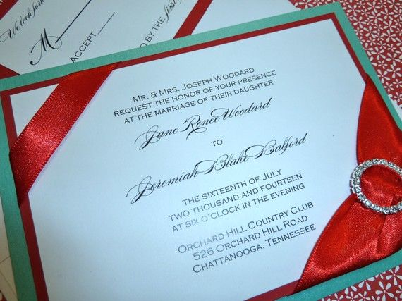 Red And Turquoise Wedding Invite Fancy