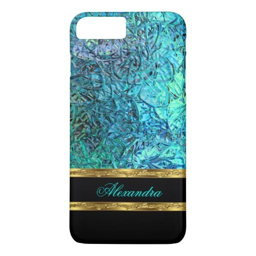 Elegant Turquoise Teal Blue Black and Gold iPhone 7 Plus Case