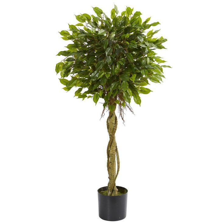 4 ft. UV Resistant Indoor/Outdoor Ficus Artificial Topiary Tree, Green