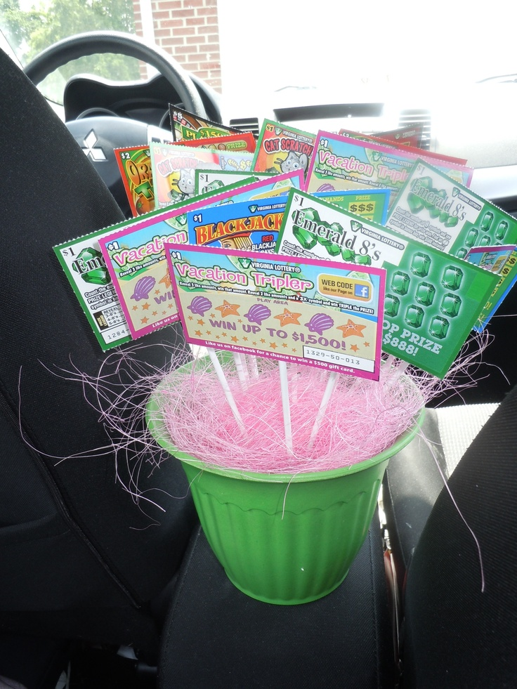 Lottery ticket bouquet gift basket ideas pinterest for Idea for door prizes
