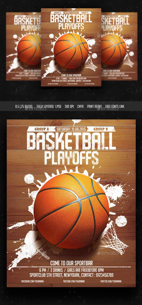 Basket Ball Playoffs Flyer (CS, 8.5x11, basket ball, basketball, college, college basketball, court, dunk, event, fans, floor, flyer, game, goal, hockey, hoop, league, march basketball, March Madness, nba, olympics, playoffs, sports, street, template, tournament, urban, usa)