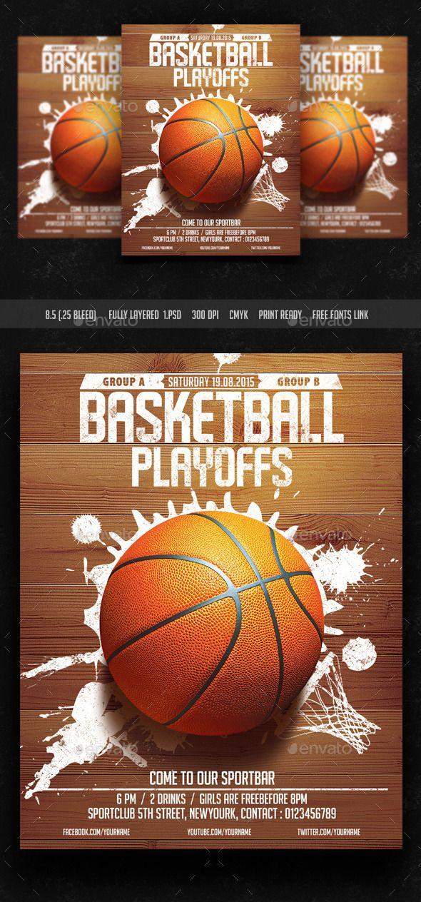 Basket Ball Playoffs Flyer (CS, 8.5x11, basket ball, basketball, college, college basketball, court, dunk, event, fans, floor, flyer, game, goal, hockey, hoop, league, march basketball, March Madness, nba, olympics, playoffs, sports, street, template, tournament, urban, usa)