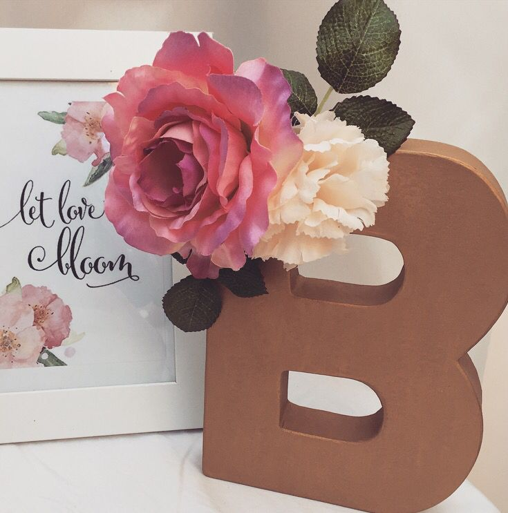 B is for baby. #babyshower #decorations #letterb #floral #flowers #rustic #gold #letlovebloom