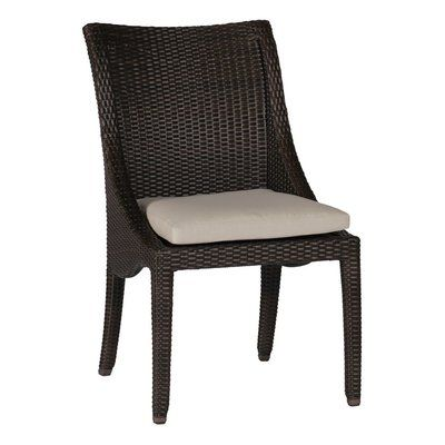 Summer Classics Athena Patio Dining Chair with Cushion Frame Color: Oyster, Cushion Color: Snow Leopard Dove
