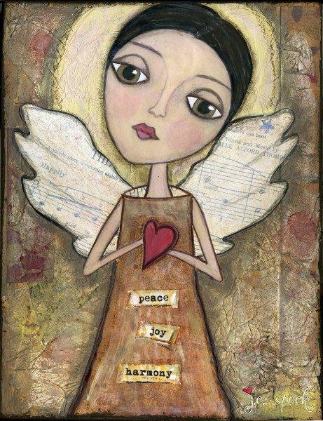 "Whimsical Angel Art, Mixed Media Art, Inspirational Art: Card, Magnet, Bookmark, Postcard, Notebook, Print or Mounted Print ""Harmony Angel"""