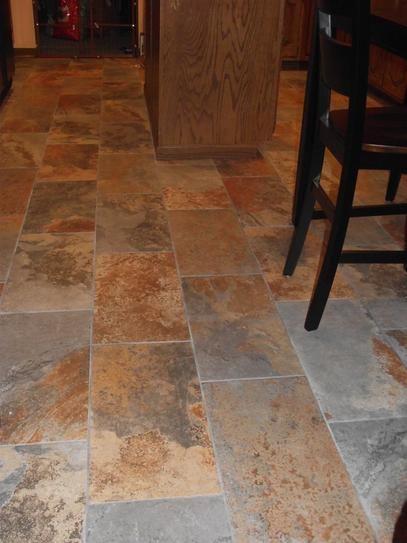 Wood Tile Floor Kitchen