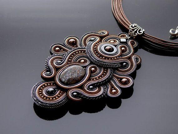 Brown graphite Soutache necklace. от ANBijou на Etsy