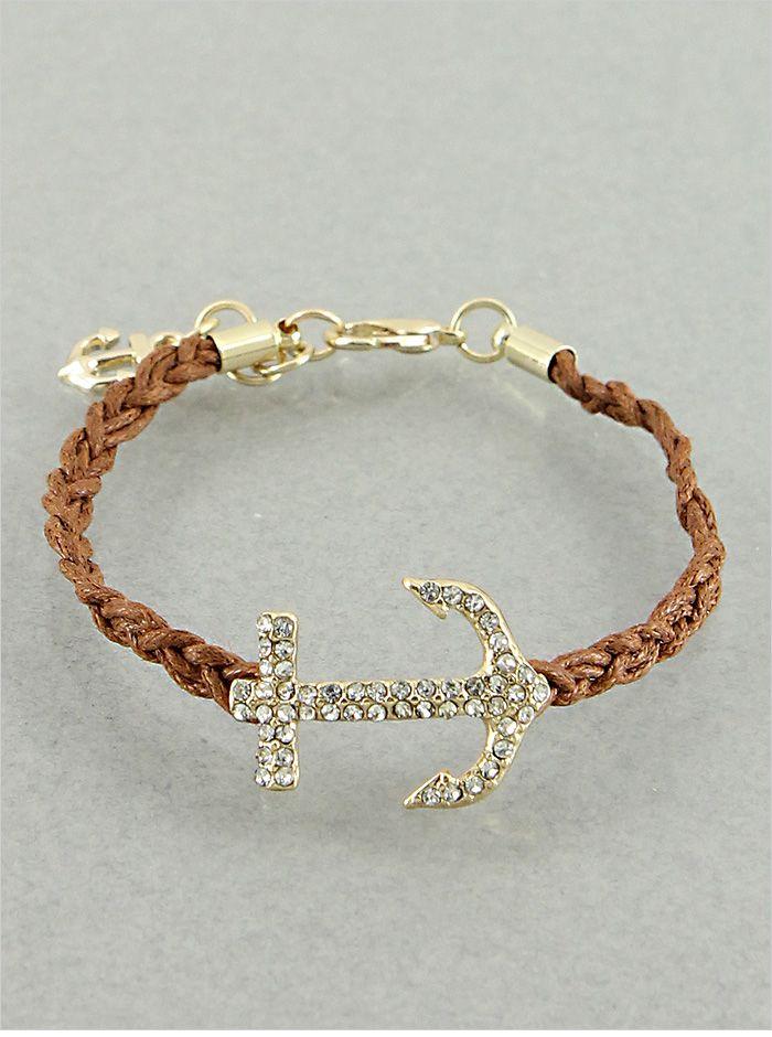 Brown Crystal Anchor Bracelet